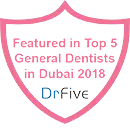 Best Dentist in Dubai Badge for DrFive